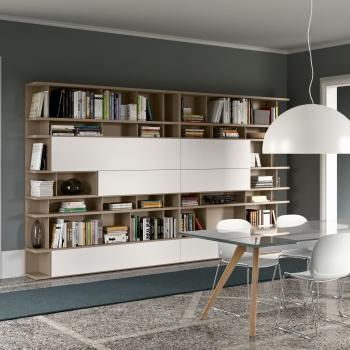 Composizione PIANCA modello LOGICO laccato opaco creta e bianco