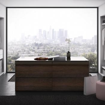 Modulo PIANCA modello ISLAND con cassetti e ripiani porta scarpe, teca in vetro trasparente, vassoi porta gioie in velluto