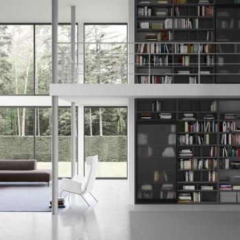 Composizione PIANCA modello RIVELATO laccato opaco grigio scuro e vetro satinato fumé